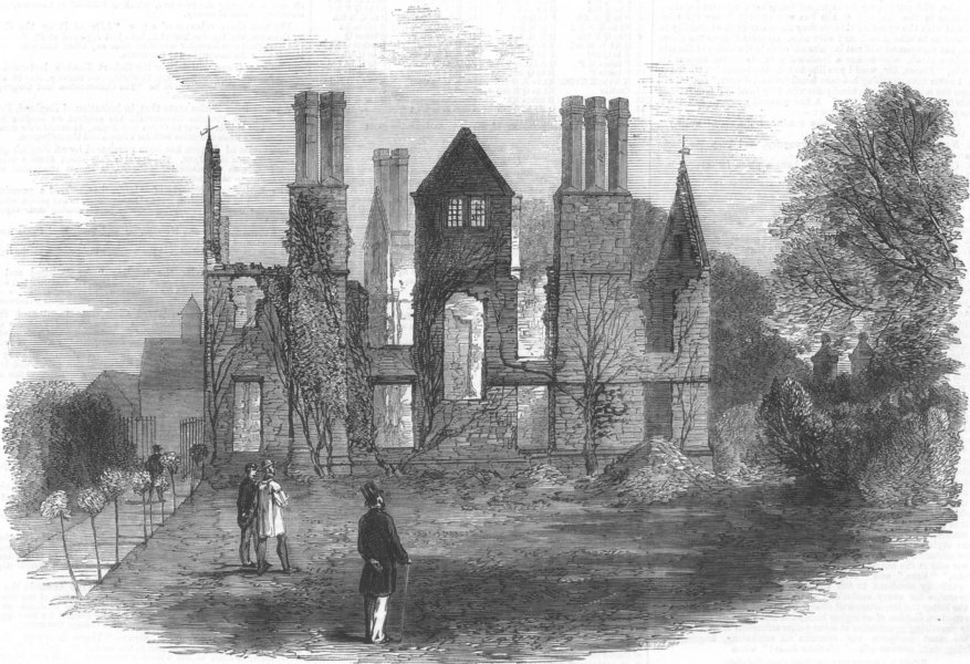 Associate Product DERBYS. Ruins of King's Newton Hall, near Melbourne, antique print, 1859