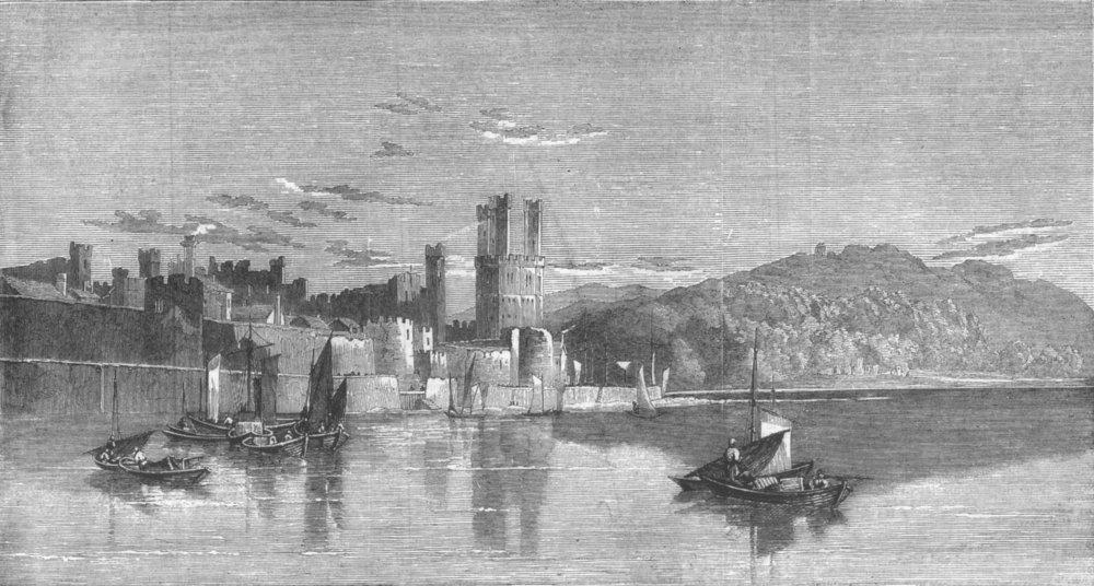 Associate Product WALES. Carnarvon Castle, North Wales, antique print, 1859