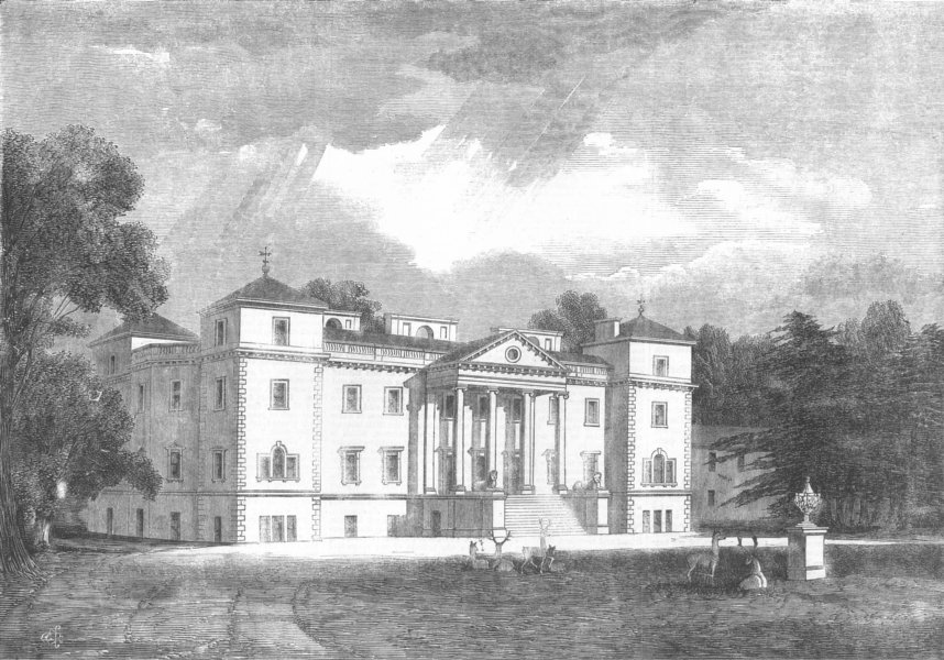 Associate Product WORCS. Croome House, Earl of Coventry, antique print, 1859