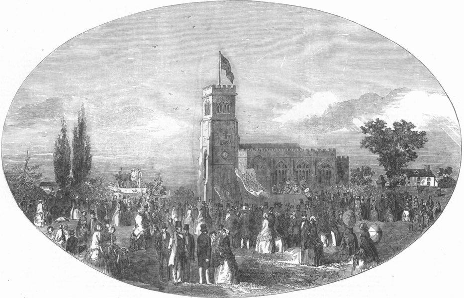 Associate Product WALES. Lord Kenyon's birthday, Hanmer, Flintshire, antique print, 1853
