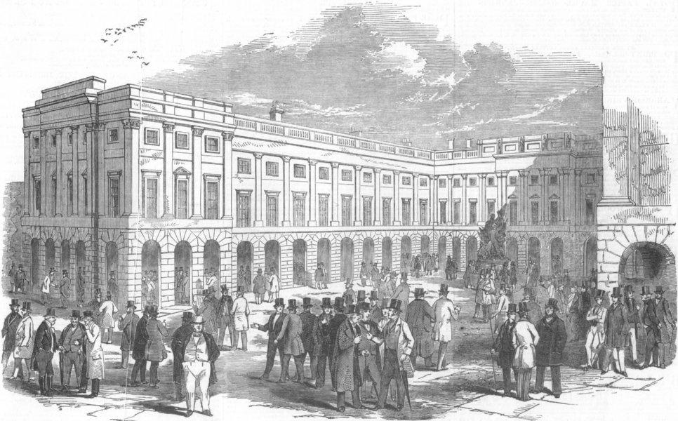 Associate Product LANCS. The Exchange Buildings, Liverpool, antique print, 1847