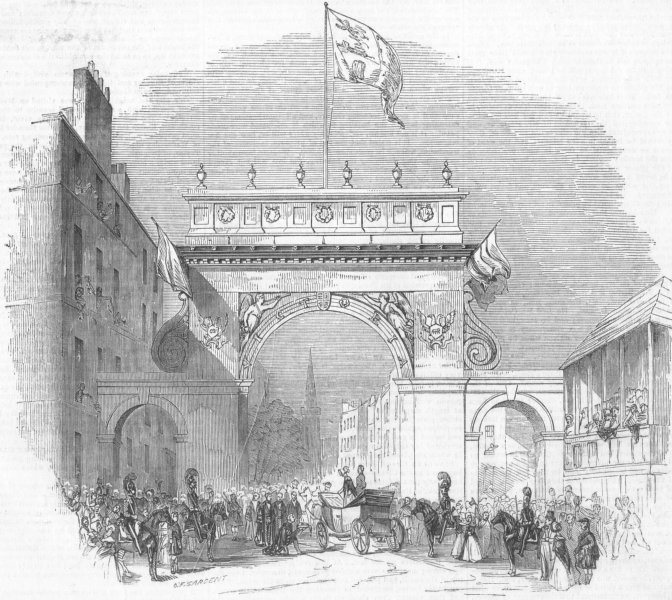 Associate Product Queen Victoria's entrance into the city of Perth, Scotland, antique print, 1842