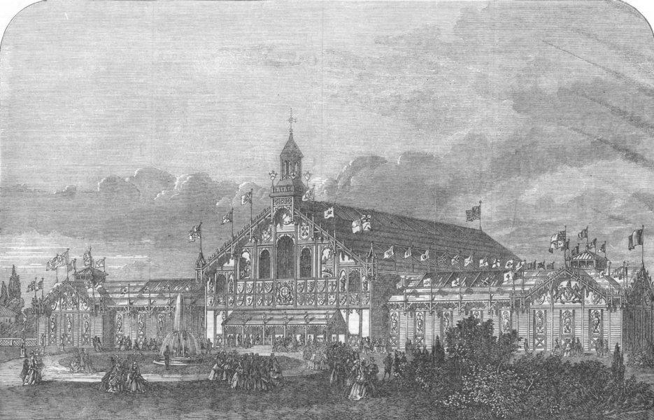 Associate Product YORKS. Arts & industrial exhibition building, York, antique print, 1866