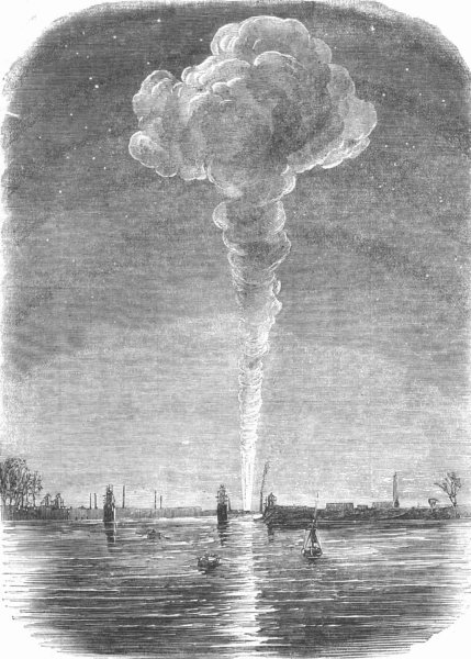 Associate Product LONDON. Vauxhall Station, fire, from Battersea Bridge, antique print, 1856