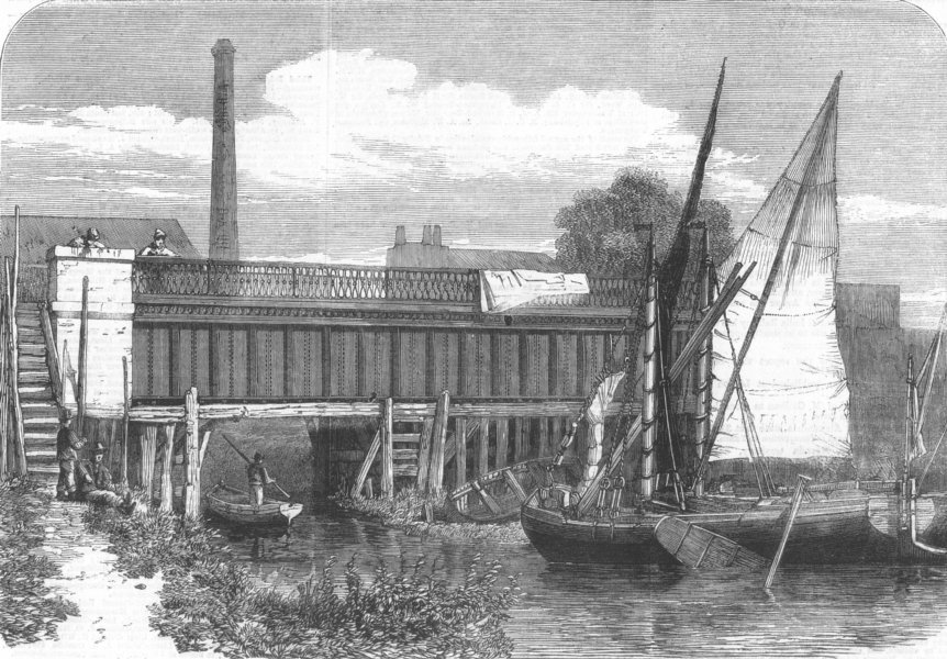 Associate Product LONDON. Aqueduct at Abbey Mills, Stratford, antique print, 1864