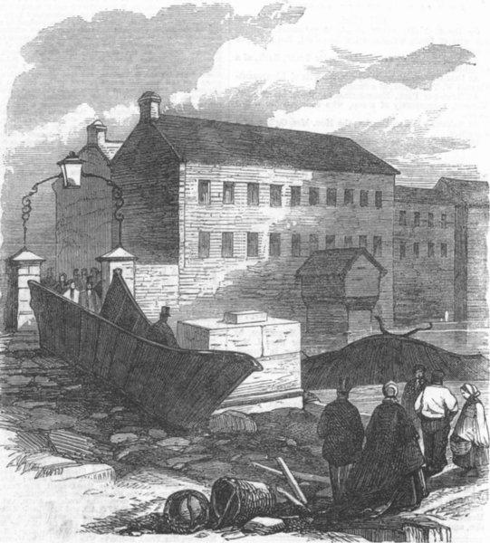 Associate Product YORKS. Sheffield floods. Remains of Ball St Bridge, antique print, 1864