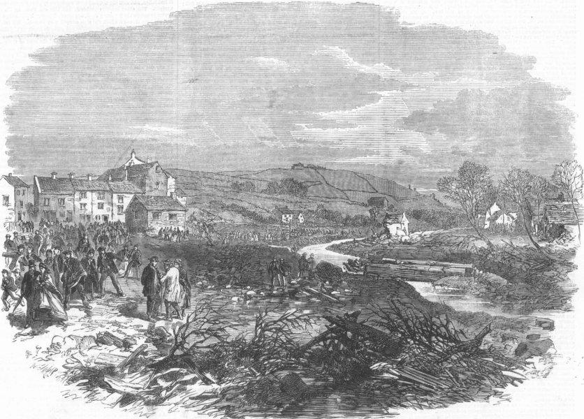 Associate Product YORKS. village of Bradfield, nr Sheffield, floods, antique print, 1864