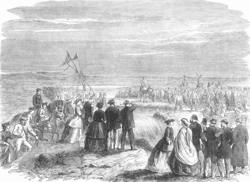 EGYPT. Opening of the Sweet-Water Canal at Suez, antique print, 1864