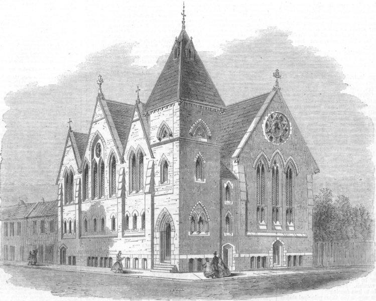 Associate Product CHESHIRE. St Pauls Working Mens Church, Birkenhead, antique print, 1864