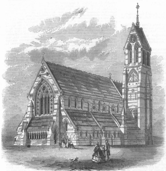 Associate Product LONDON. The Church of St Jude, Gray's-Inn-Road, antique print, 1864