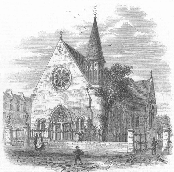 Associate Product KENT. The Church of the Holy Trinity, Lee, Kent, antique print, 1864