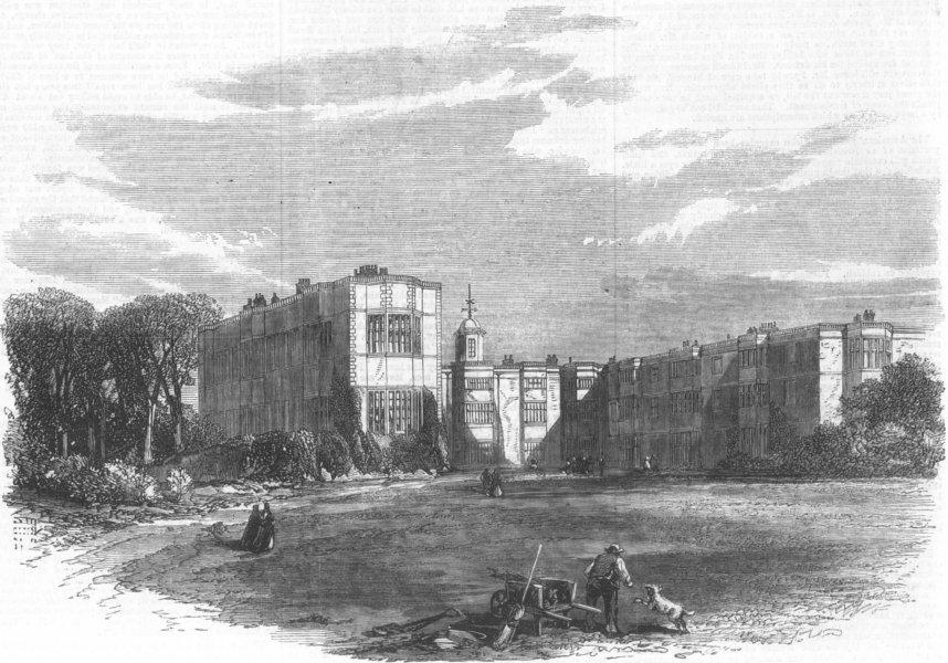 Associate Product YORKS. Templenewsam, near Leeds(Meynell Ingram), antique print, 1868