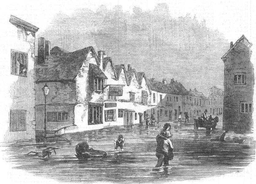 Associate Product WILTS. Flood at Fisherton, Salisbury, antique print, 1852