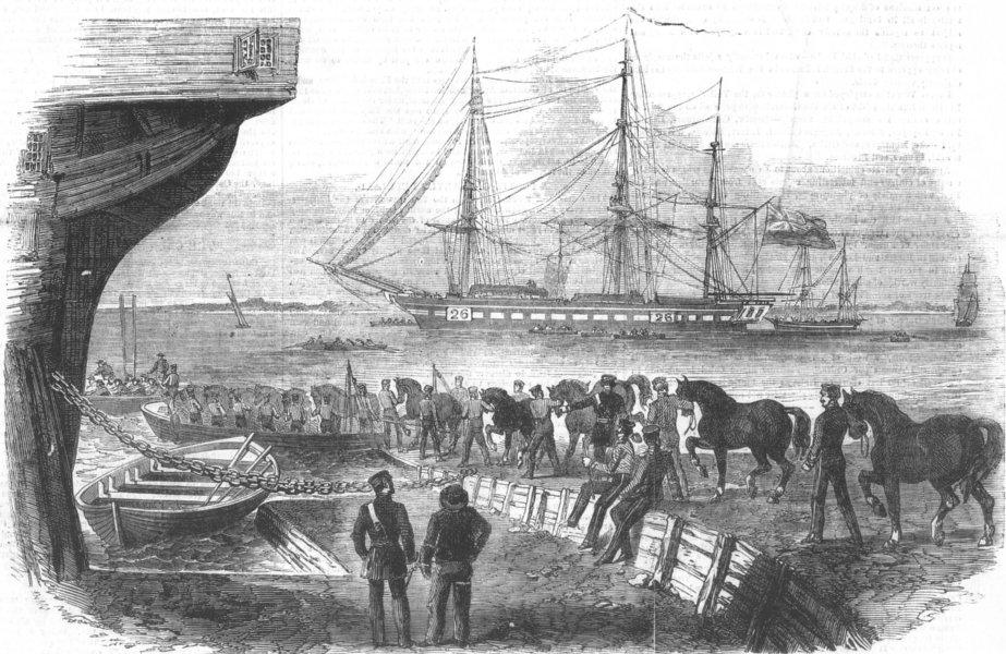 Associate Product LONDON. Loading horses, Royal Dockyard, Woolwich, antique print, 1855