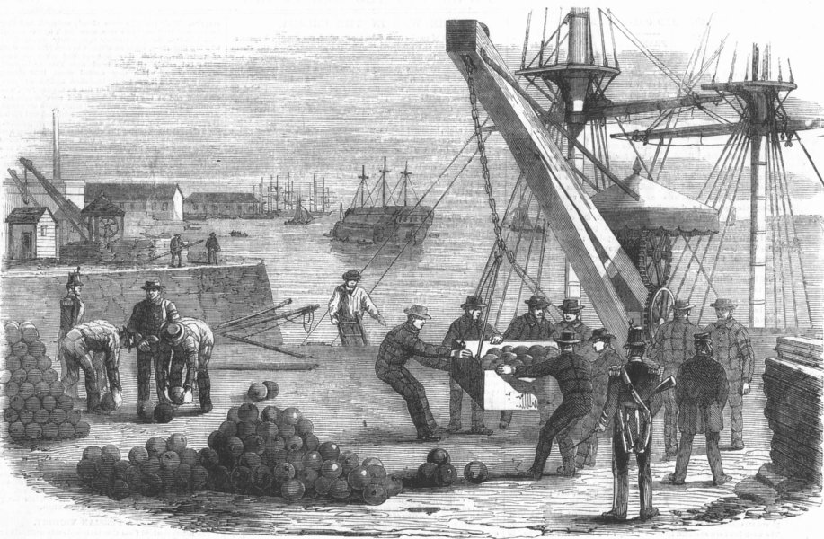 Associate Product LONDON. Landing munitions, Royal Dockyard, Woolwich, antique print, 1855