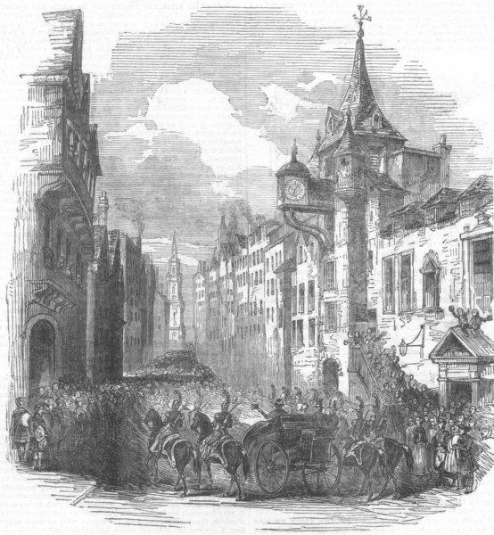 Associate Product SCOTLAND. Passing the Canongate, Edinburgh, antique print, 1842