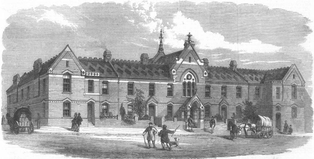 Associate Product LONDON. Drovers Hall, Metropolitan cattle market, antique print, 1873