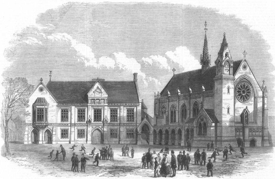 Associate Product LONDON. Sir Cholmeleys Schools, Highgate, Rebuilt, antique print, 1867