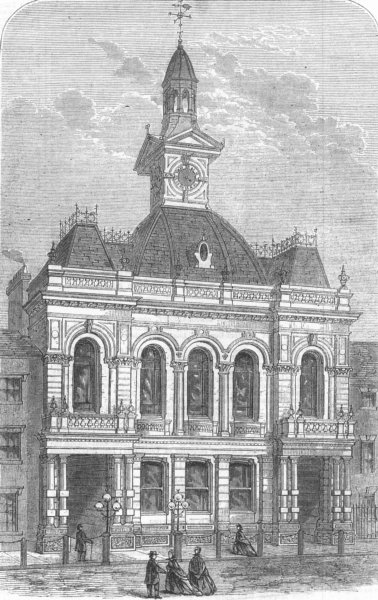 Associate Product NOTTS. New Townhall, East Retford, antique print, 1867