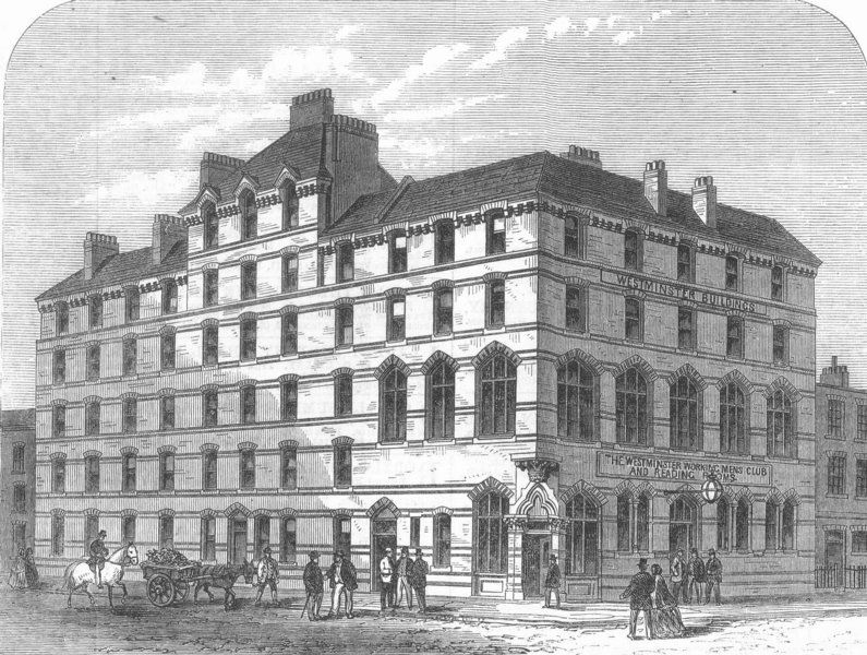 Associate Product LONDON. Working Mens Club, Old Pye St, Westminster, antique print, 1866