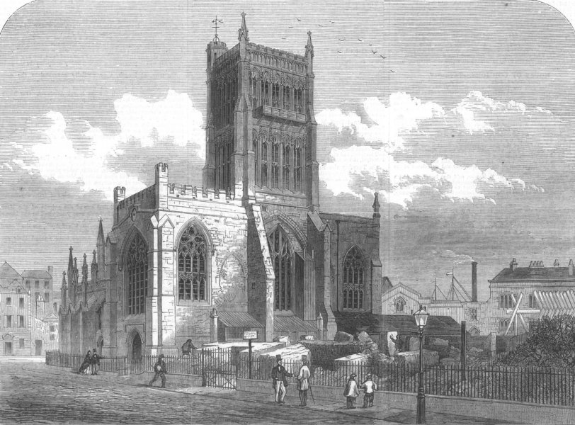 Associate Product GLOS. The West front of Bristol Cathedral, antique print, 1867