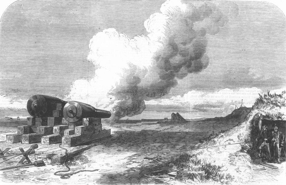 Associate Product LANCS. Mackay gun testing, Crosby Sands, nr Liverpool, antique print, 1867