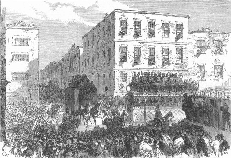 Associate Product LANCS. Fenian Prisoners, Mosley-Street, Manchester, antique print, 1867