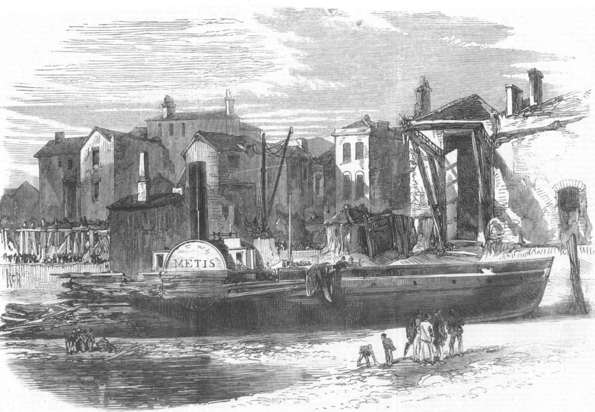 Associate Product LONDON. Wreck of Thames Steam-boat Metis, Woolwich, antique print, 1867