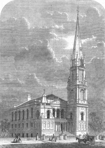 Associate Product LONDON. Park Church, Highbury, antique print, 1863