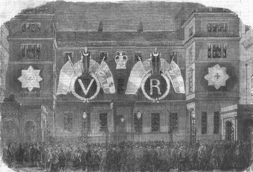 Associate Product LONDON. Peace lights-Ordnance-Office, Pall Mall, antique print, 1856