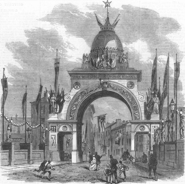 Associate Product YORKS. Triumphal Arch on the Ouse Bridge at York, antique print, 1866