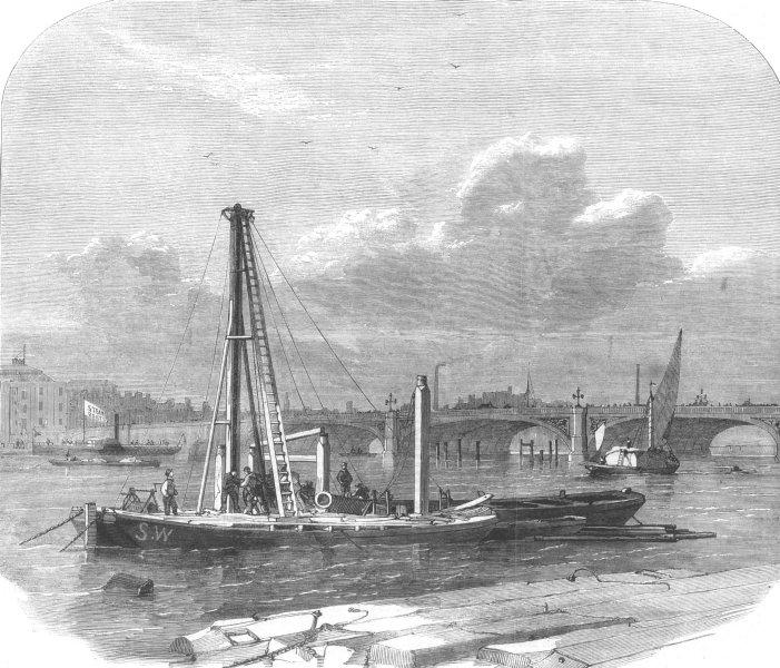 Associate Product LONDON. Embankment construction(Duke of Buccleuch), antique print, 1862