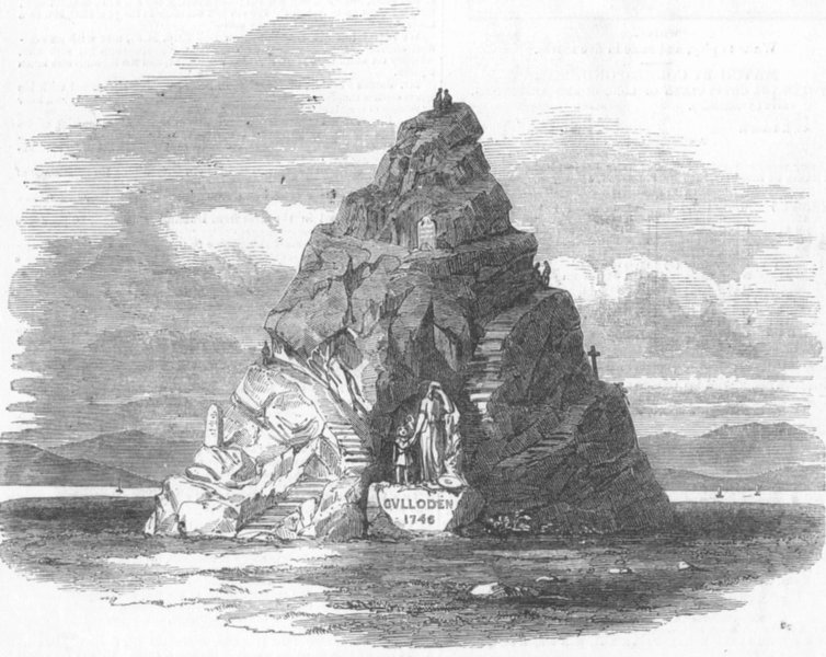 SCOTLAND. The proposed monument on Culloden Moor, antique print, 1849