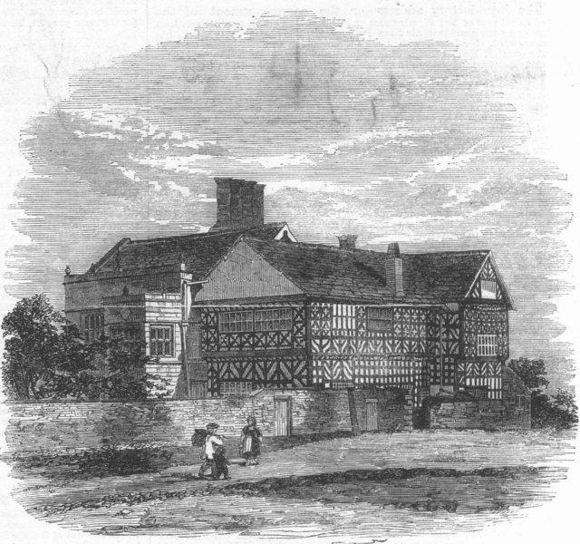 Associate Product LANCS. Hall-i-th-wood, nr Bolton(Samuel Crompton), antique print, 1862