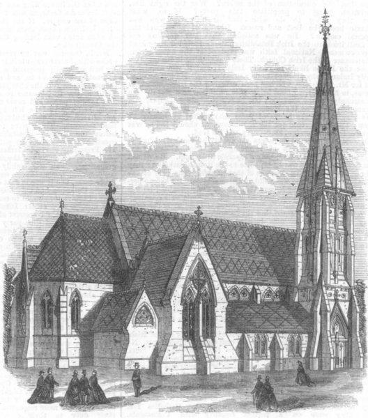 Associate Product KENT. St Mark's, Broadwater Down, Tunbridge Wells, antique print, 1868