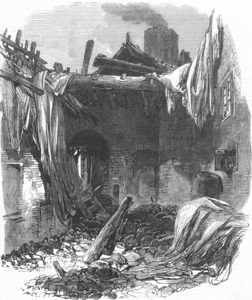 Associate Product LONDON. Buildings at Old Ford, Bow, destroyed by wind, antique print, 1868