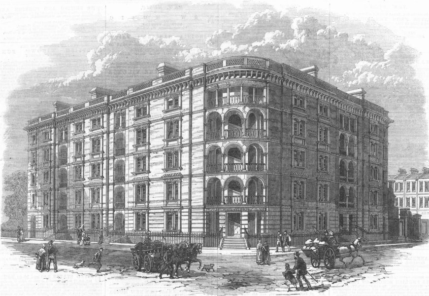 Associate Product LONDON. Model Dwellings in the Mall, Kensington, antique print, 1868