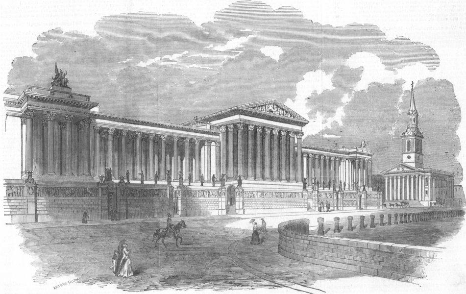 Associate Product LONDON. Design for National Gallery, Trafalgar Sq, antique print, 1849