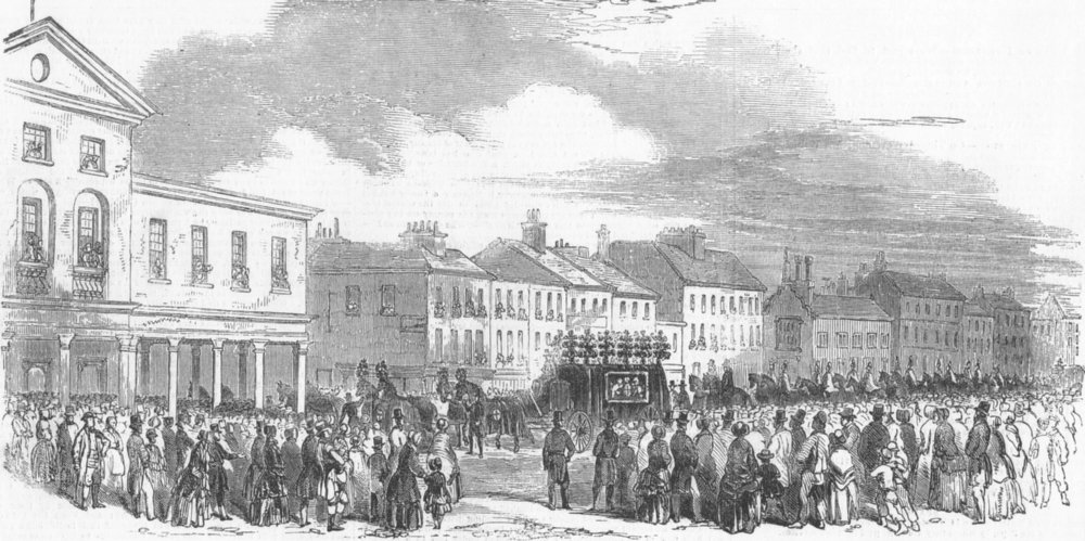 Associate Product LONDON. The procession through Uxbridge, antique print, 1849