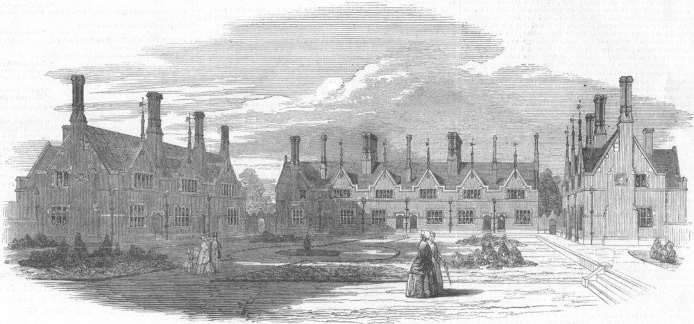 Associate Product LONDON. King William Naval Asylum, at Penge, antique print, 1849
