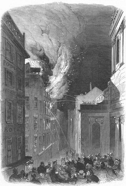 Associate Product LONDON. fire, lower Thames St, evening, antique print, 1849