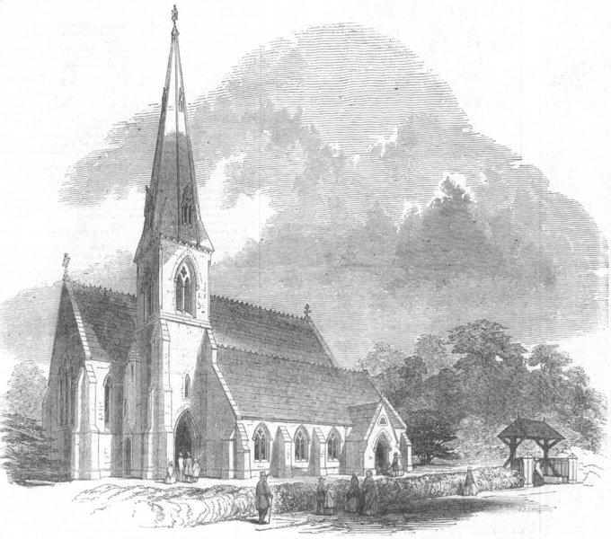 Associate Product HANTS. New Church at East Woodhay, Hants, antique print, 1849