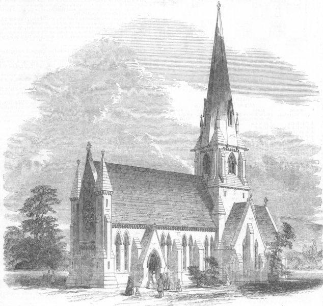 YORKS. Meanwood new church, near Leeds, antique print, 1849