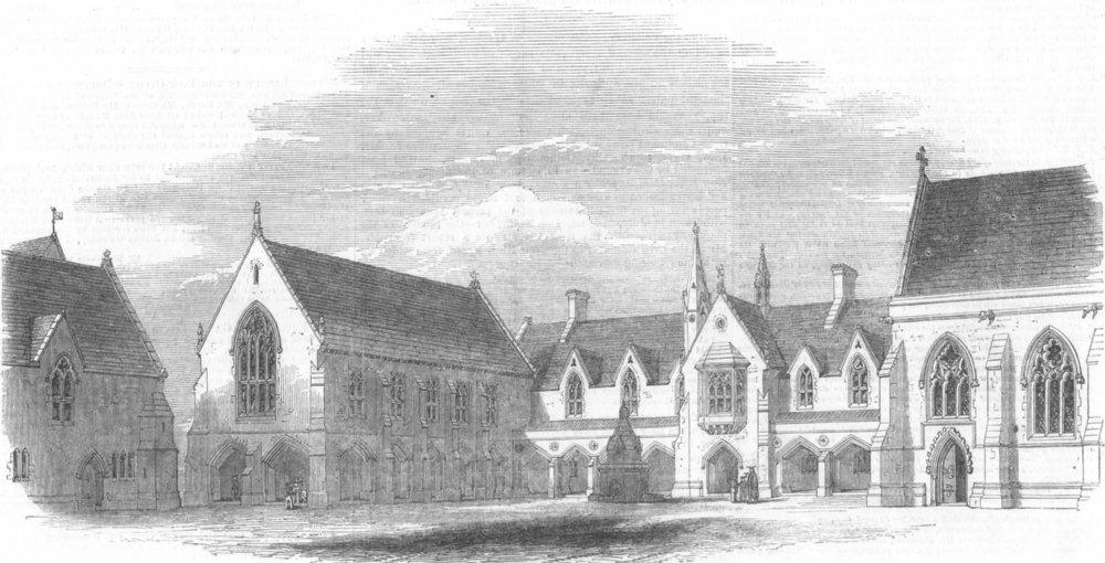 Associate Product Brighton College, Sussex, antique print, 1849