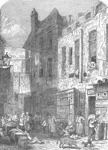 Associate Product LONDON. London-Rookery, St Giless, antique print, 1849