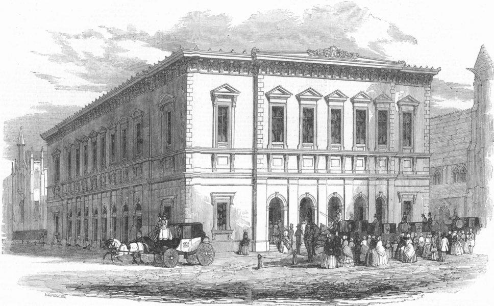 Associate Product New Philharmonic Concert Hall, Liverpool, antique print, 1849