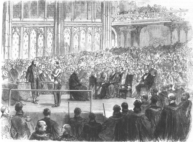 Associate Product LONDON. Freedom of City, Lord Napier of Magdala, Guildhall, antique print, 1868