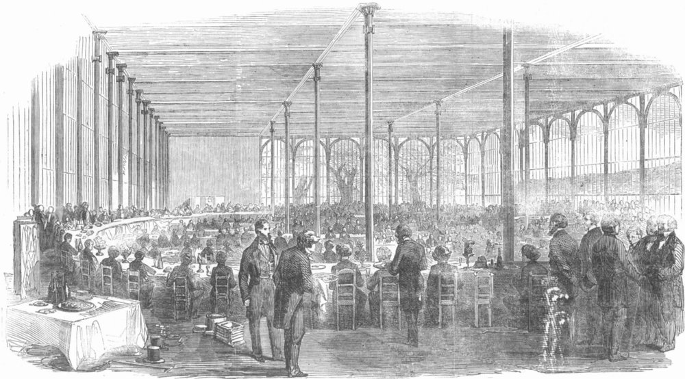 Associate Product LONDON. Dinner, Crystal Palace, Society of Arts, antique print, 1854