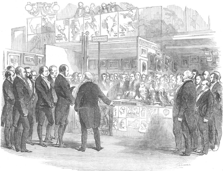 Associate Product LONDON. Educational exhibition, St Martin's-Hall, antique print, 1854