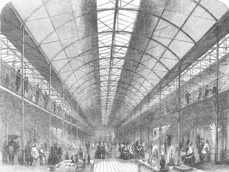 Associate Product LONDON. Victoria & Albert Museum being built, antique print, 1856